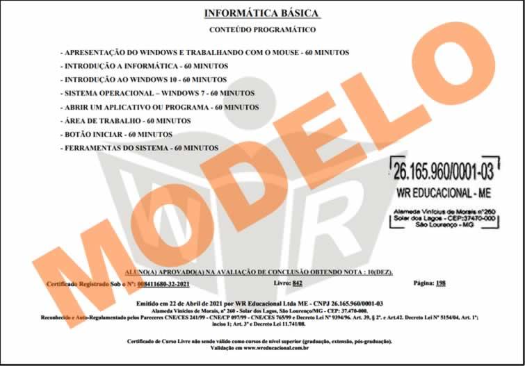 Certificado Da Wr Educacional Certificado Válido Em Todo